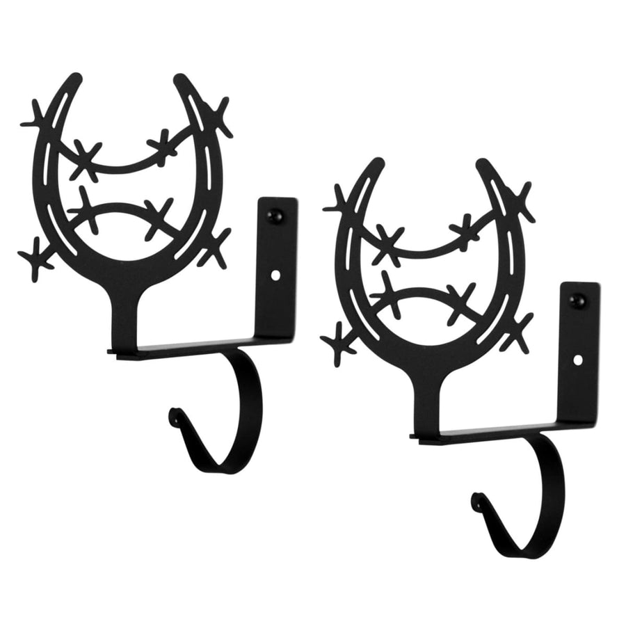 Wrought Iron Horse Shoe Curtain Rod & Shelf Brackets Set curtain rod shelf bracket floating shelves