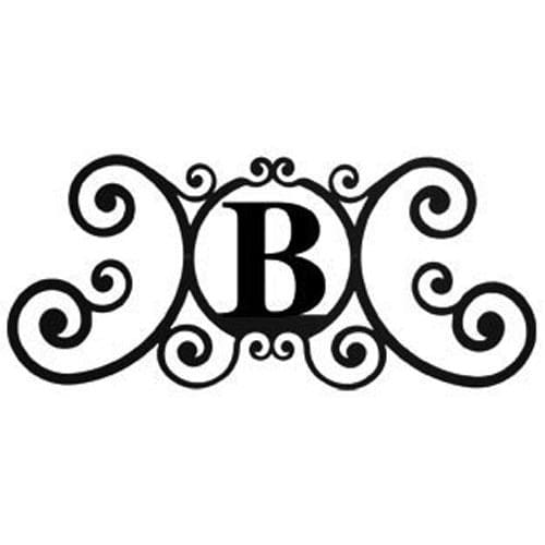 Wrought Iron House Plaque Let B 24 Inches door plaque house letter house signs letter b metal