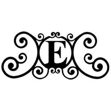 Wrought Iron House Plaque Let E 24 Inches door plaque house letter house signs letter e metal