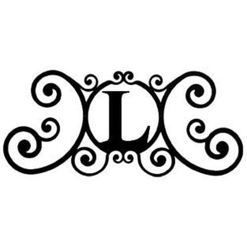 Wrought Iron House Plaque Let L 24 Inches door plaque house letter house signs letter l metal
