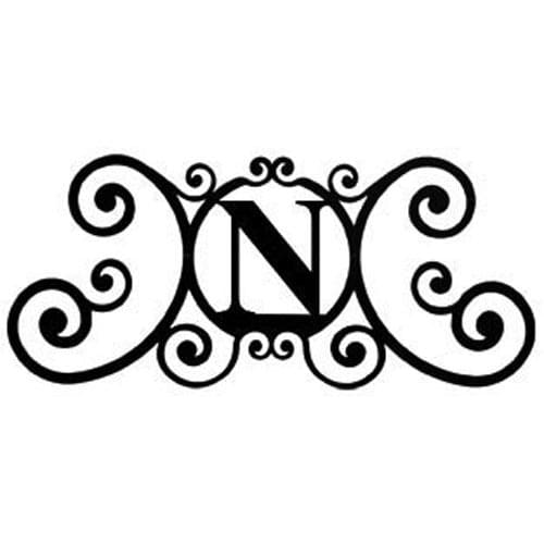 Wrought Iron House Plaque Let N 24 Inches door plaque house letter house signs letter n metal