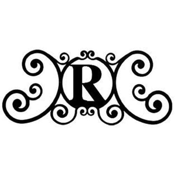 Wrought Iron House Plaque Let R 24 Inches door plaque house letter house signs letter r metal