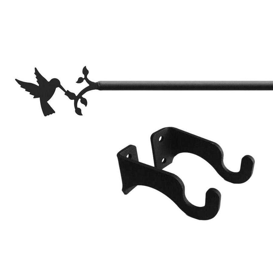 Wrought Iron Hummingbird Curtain Rod curtain poles curtain rails curtain rod dragonfly decor outdoor