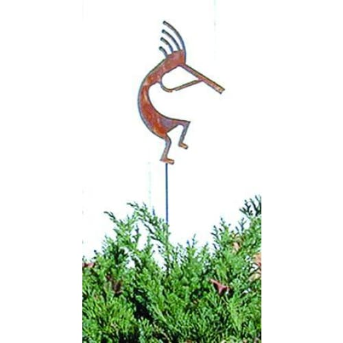 Wrought Iron Kokopelli Rusted Garden Stake 35 Inches garden art garden decor garden ornaments garden