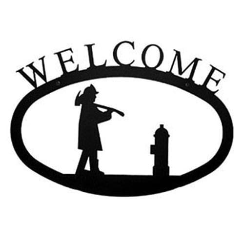 Wrought Iron Large Fireman Welcome Home Sign Large door signs outdoor signs welcome home sign