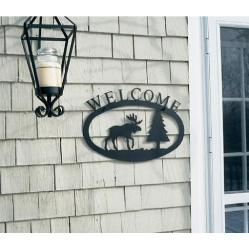 Wrought Iron Large Moose & Pine Welcome Home Sign Large door signs outdoor signs welcome home sign