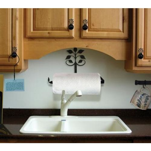 Wrought Iron Leaf Fan Horizontal Wall Paper Towel Holder kitchen towel holder paper towel dispenser