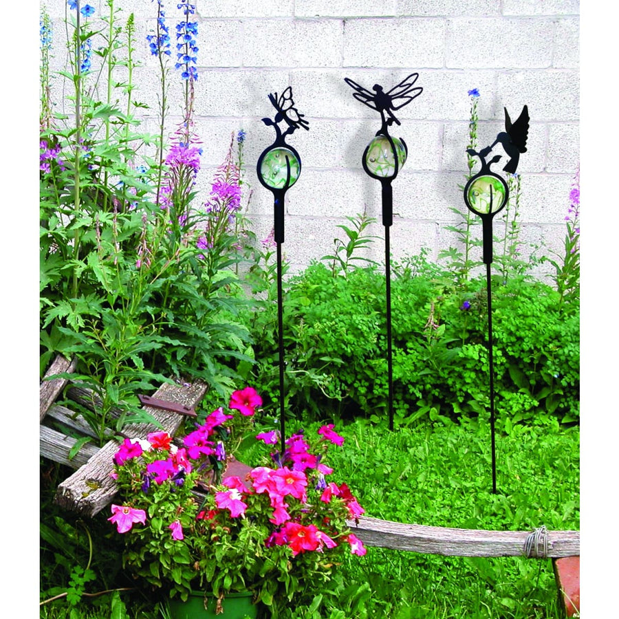 Wrought Iron Marble Dragonfly Garden Stake 38 Inches garden art garden decor garden ornaments garden