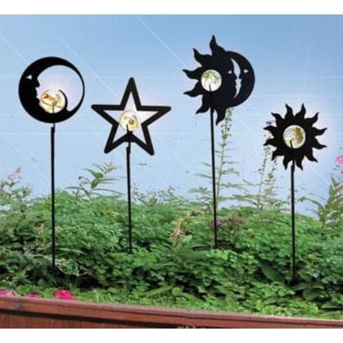 Wrought Iron Marble Flower Garden Stake 38 Inches garden art garden decor garden ornaments garden
