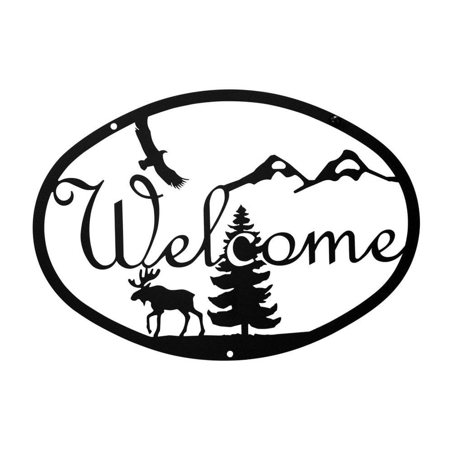 Wrought Iron Medium Moose & Eagle Welcome Home Sign Medium door signs outdoor signs welcome home