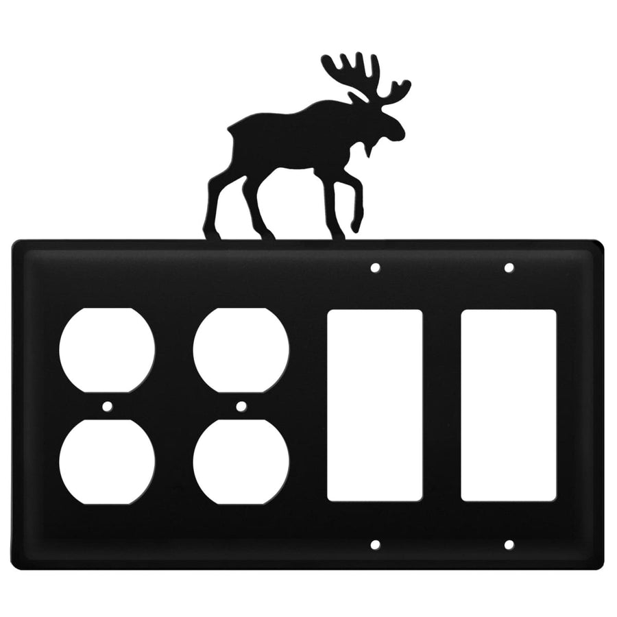 Wrought Iron Moose Double Outlet Double GFCI Cover light switch covers lightswitch covers outlet