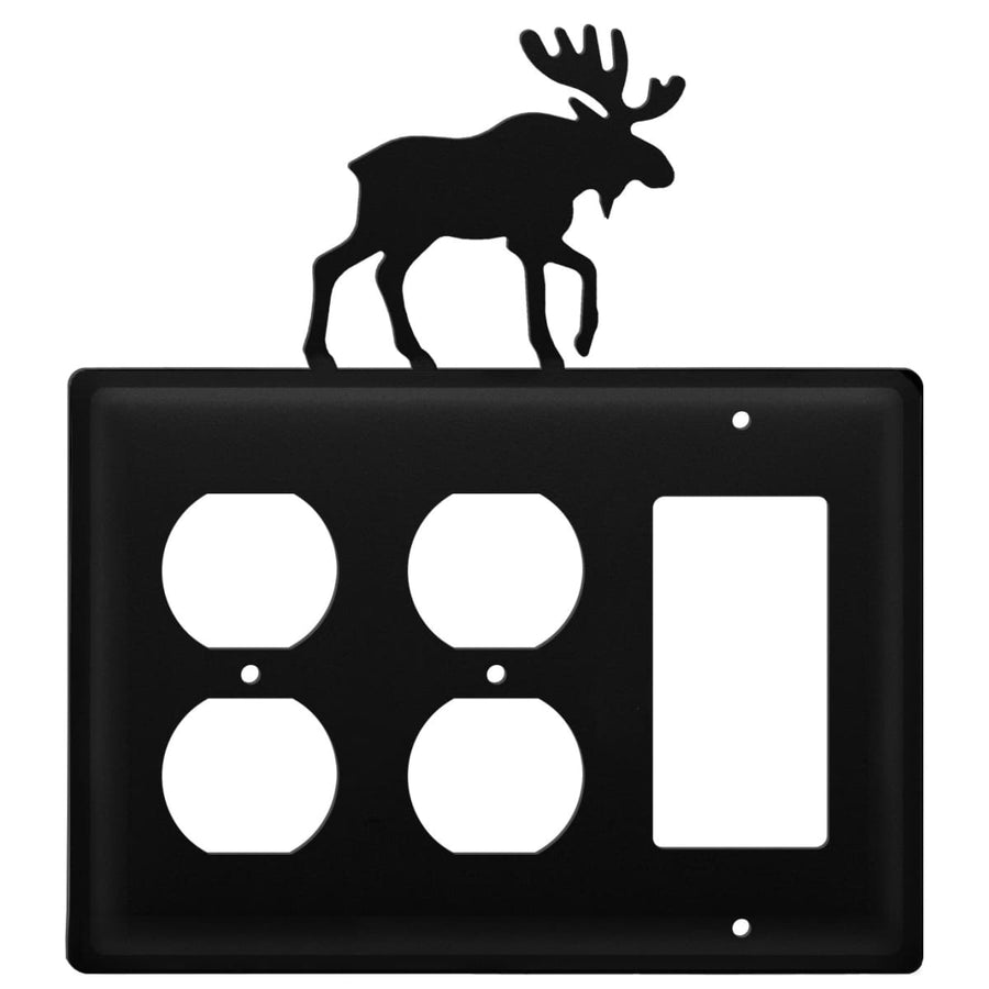 Wrought Iron Moose Double Outlet GFCI Cover light switch covers lightswitch covers outlet cover