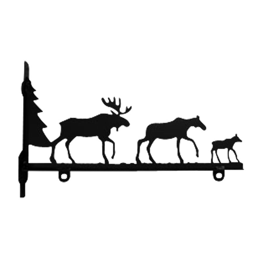 Wrought Iron Moose Family Sign Post Bracket 18in decorative posts metal sign post pole sign real