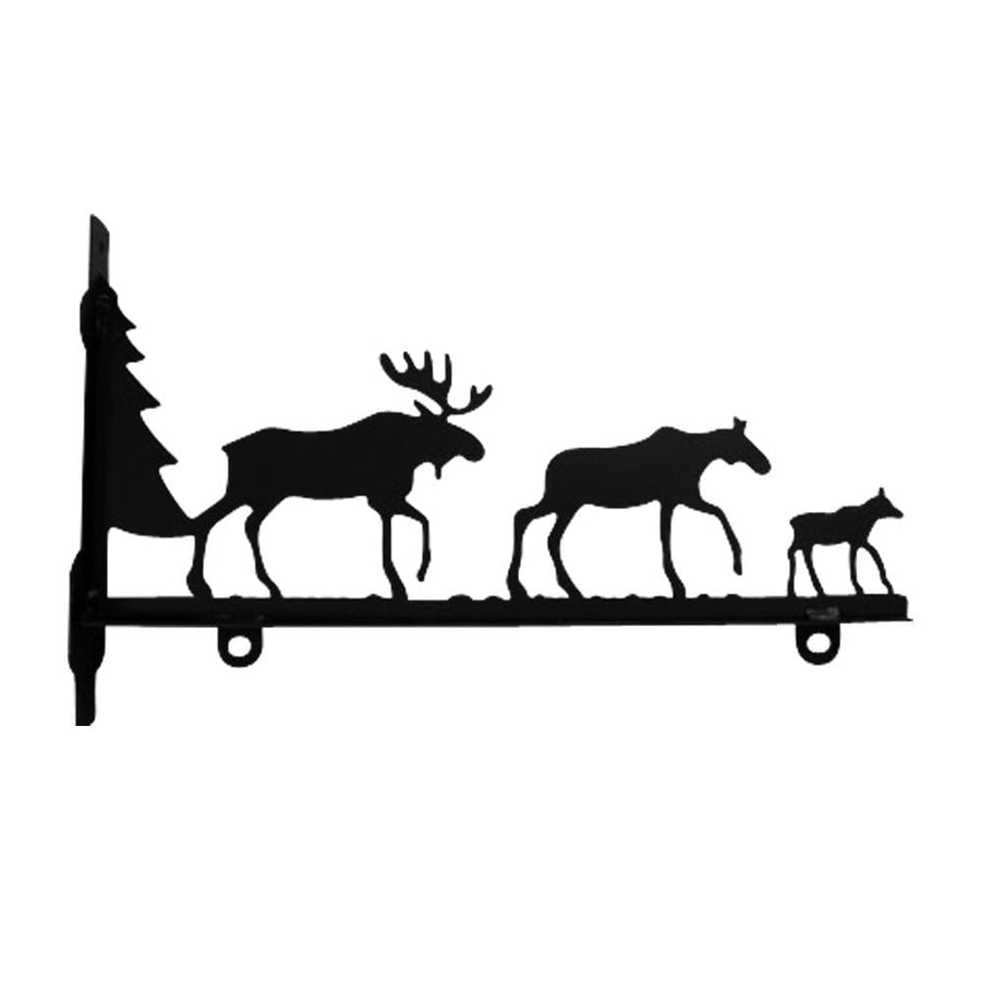 Wrought Iron Moose Family Sign Post Bracket 36in decorative posts metal sign post pole sign real