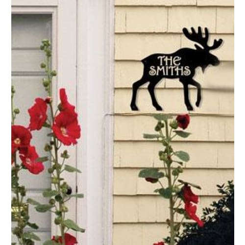 Wrought Iron Moose Personalized House Plaque 12 Letters -Custom Made house signs lawn decor metal
