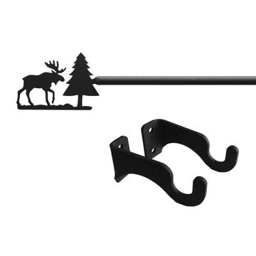 Wrought Iron Moose & Pine Curtain Rod curtain poles curtain rails curtain rod dragonfly decor