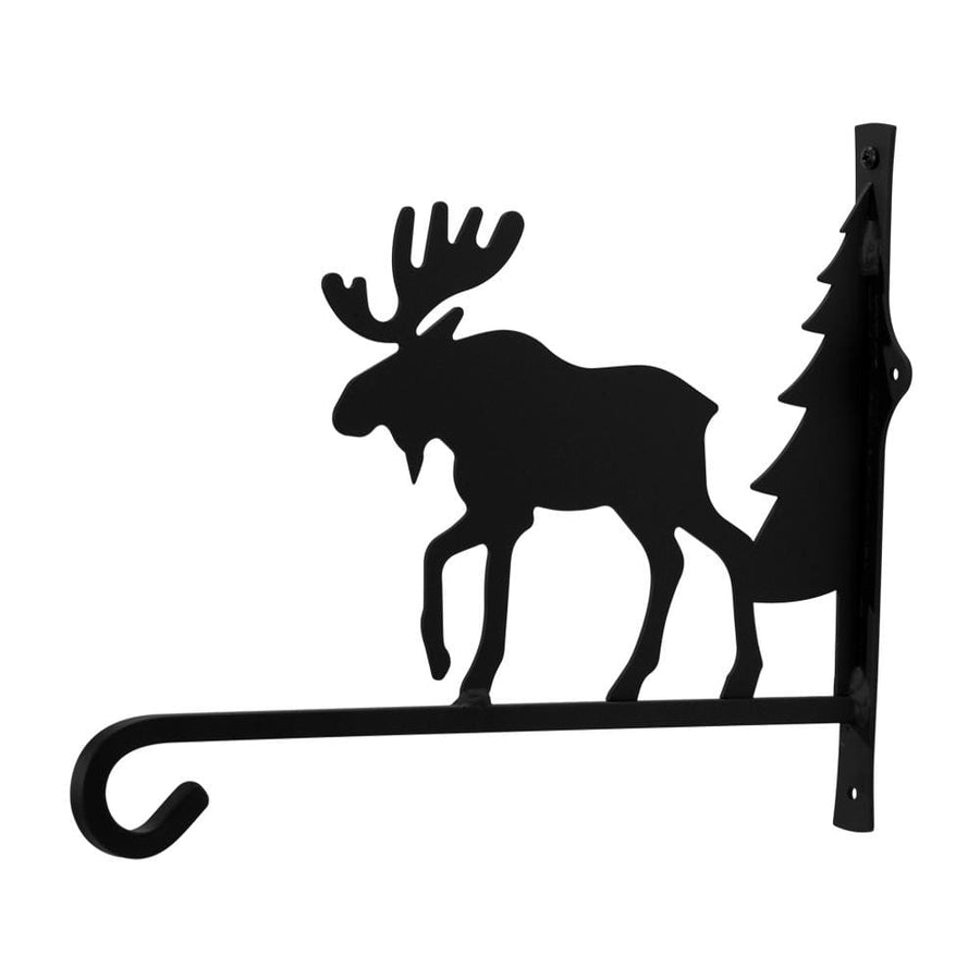 Wrought Iron Moose & Pine Square Plant Hanger 12in hanging plant stand metal plant stands outdoor