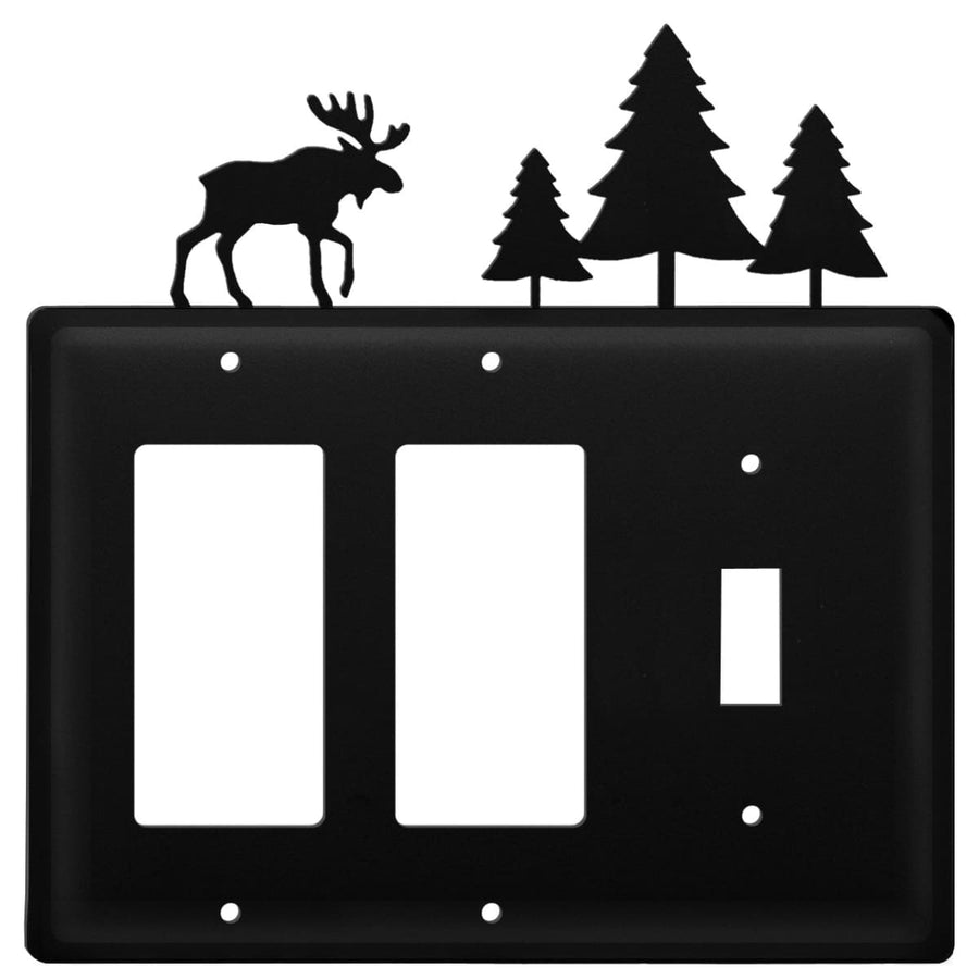 Wrought Iron Moose & Pine Trees Double GFCI Switch Cover light switch covers lightswitch covers