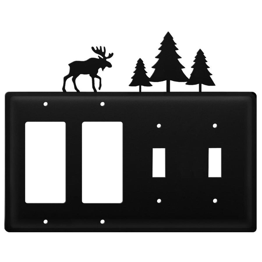 Wrought Iron Moose & Pine Trees Double GFCI Double Switch Cover light switch covers lightswitch