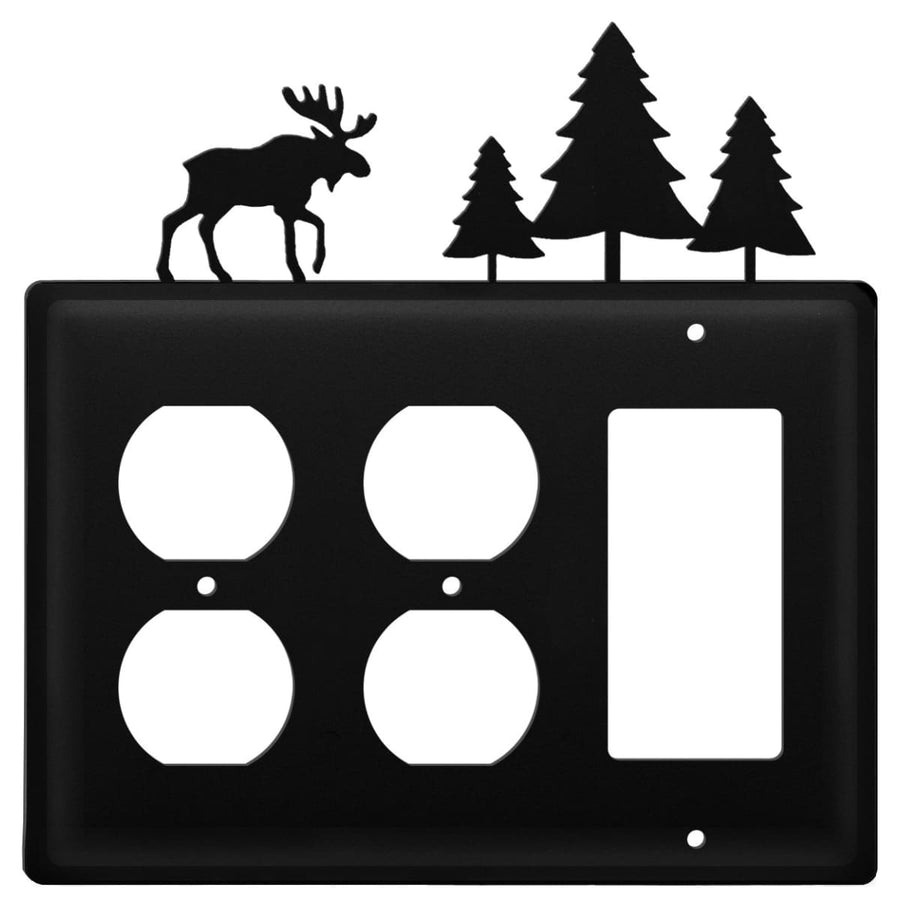 Wrought Iron Moose Pine Trees Double Outlet GFCI Cover light switch covers lightswitch covers outlet