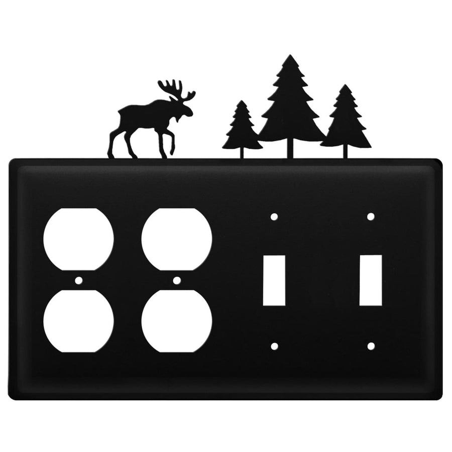 Wrought Iron Moose Pine Trees Double Outlet Double Switch Cover light switch covers lightswitch