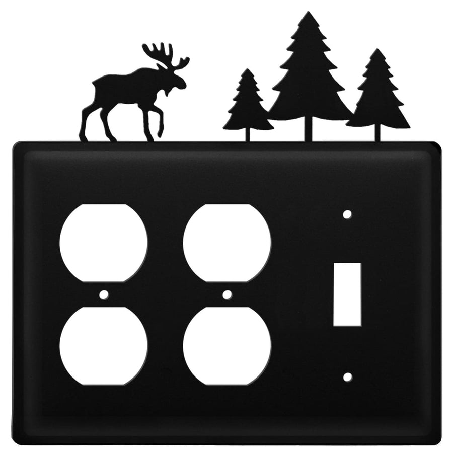 Wrought Iron Moose Pine Trees Double Outlet Switch Cover light switch covers lightswitch covers