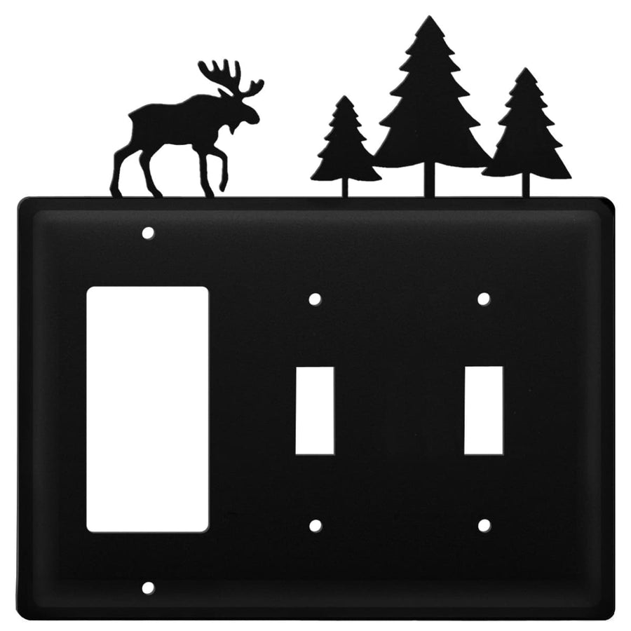 Wrought Iron Moose Pine Trees GFCI Double Switch Cover light switch covers lightswitch covers outlet