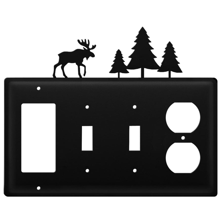 Wrought Iron Moose Pine Trees GFCI Double Switch Outlet Cover light switch covers lightswitch covers