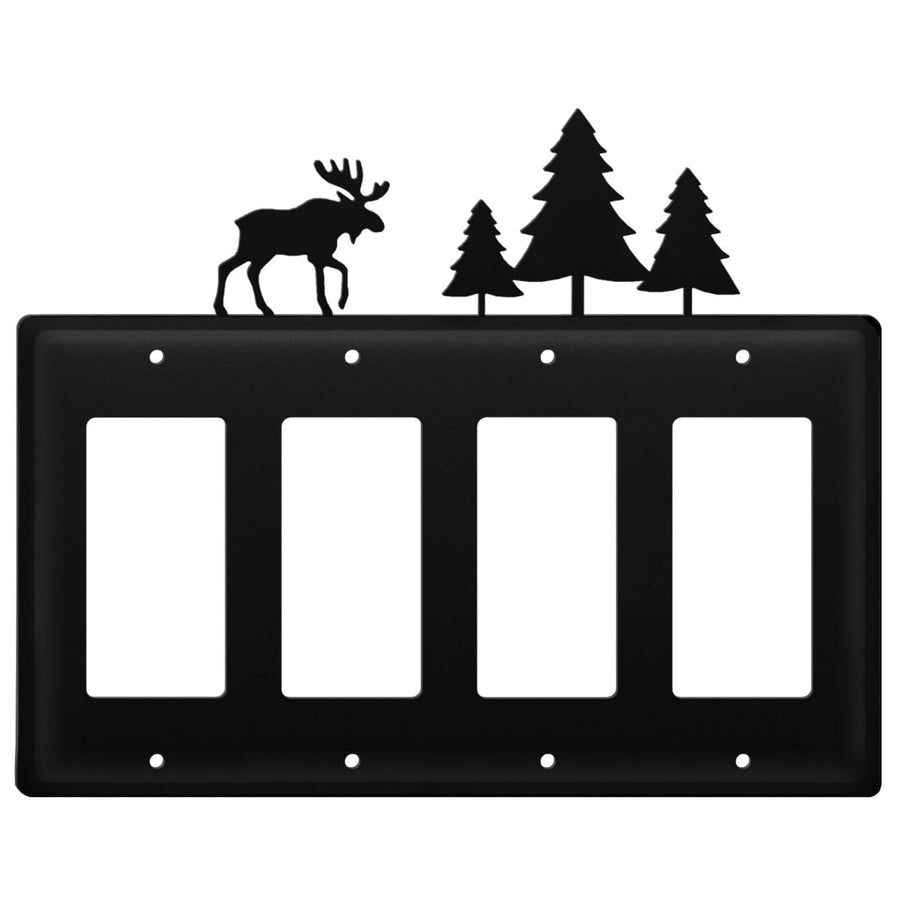 Wrought Iron Moose & Pine Trees Quad GFCI Cover light switch covers lightswitch covers outlet cover