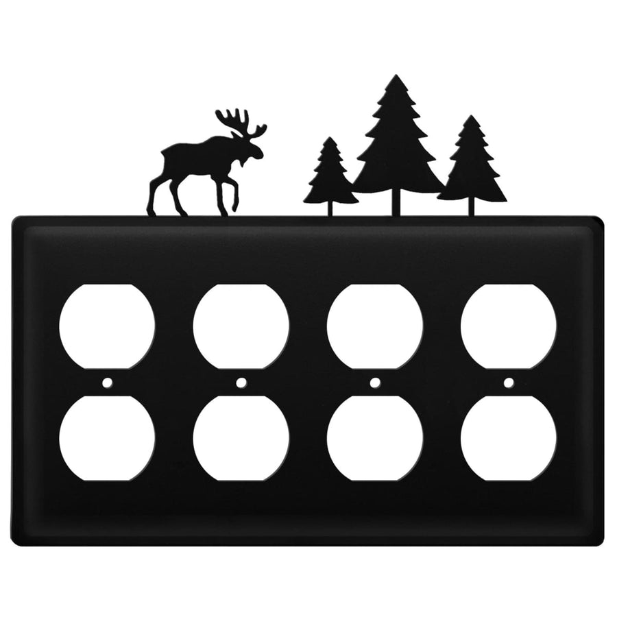 Wrought Iron Moose Pine Trees Quad Outlet Cover light switch covers lightswitch covers outlet cover