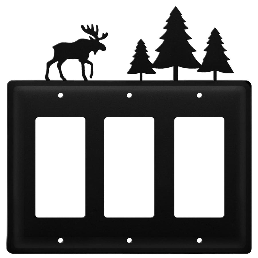 Wrought Iron Moose & Pine Trees Triple GFCI Cover light switch covers lightswitch covers outlet