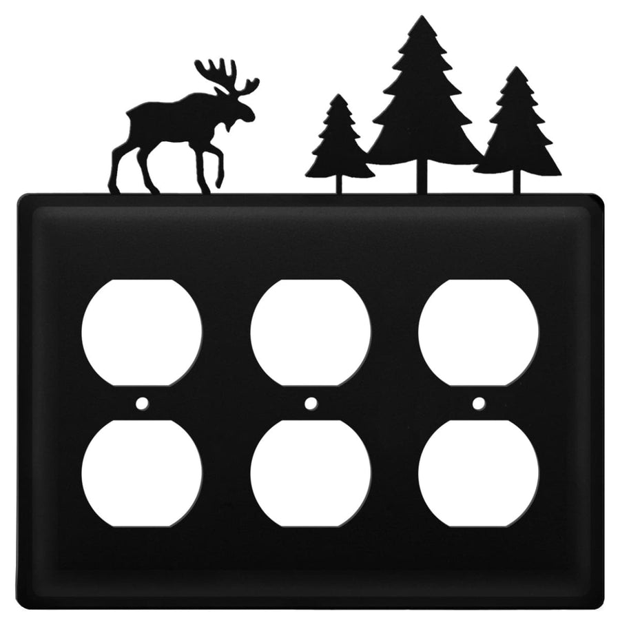 Wrought Iron Moose & Pine Trees Triple Outlet Cover light switch covers lightswitch covers outlet