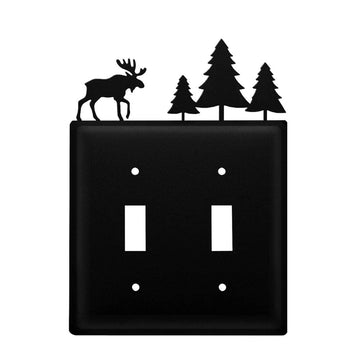 Wrought Iron Moose & Tree Double Switch Cover light switch covers lightswitch covers outlet cover