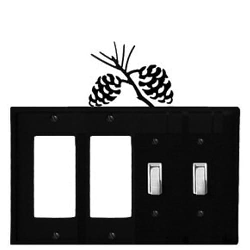 Wrought Iron Pine Cone Double GFCI Double Switch Cover light switch covers lightswitch covers outlet