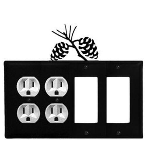 Wrought Iron Pine Cone Double Outlet Double GFCI Cover light switch covers lightswitch covers outlet