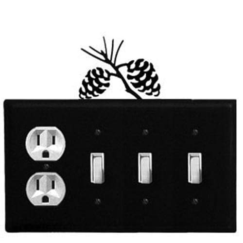 Wrought Iron Pine Cone Outlet Triple Switch Cover light switch covers lightswitch covers outlet
