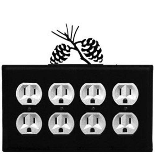 Wrought Iron Pine Cone Quad Outlet Cover light switch covers lightswitch covers outlet cover switch