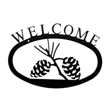 Wrought Iron Pine Cone Welcome Home Sign Small door signs outdoor signs welcome home sign welcome