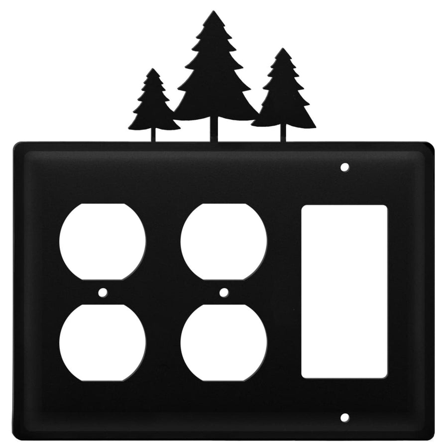 Wrought Iron Pine Trees Double Outlet GFCI Cover light switch covers lightswitch covers outlet cover
