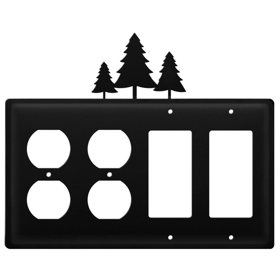 Wrought Iron Pine Trees Double Outlet Double GFCI Cover light switch covers lightswitch covers
