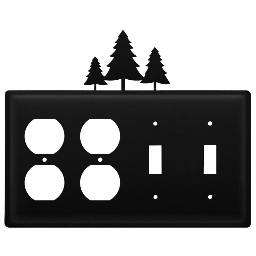 Wrought Iron Pine Trees Double Outlet Double Switch Cover light switch covers lightswitch covers