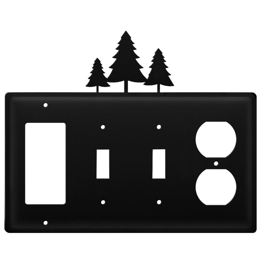 Wrought Iron Pine Trees GFCI Double Switch Outlet Cover light switch covers lightswitch covers