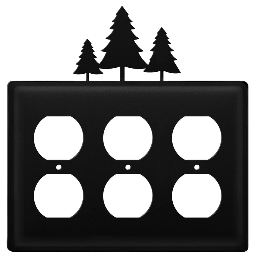 Wrought Iron Pine Trees Triple Outlet Cover light switch covers lightswitch covers outlet cover