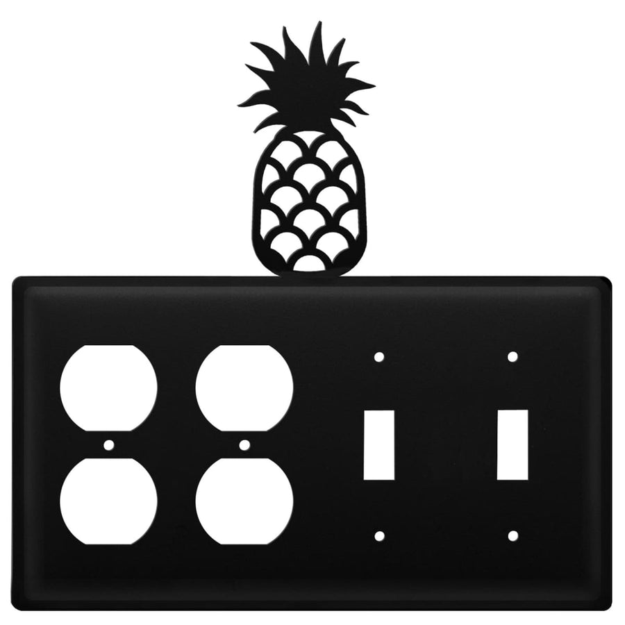 Wrought Iron Pineapple Double Outlet Double Switch Cover light switch covers lightswitch covers