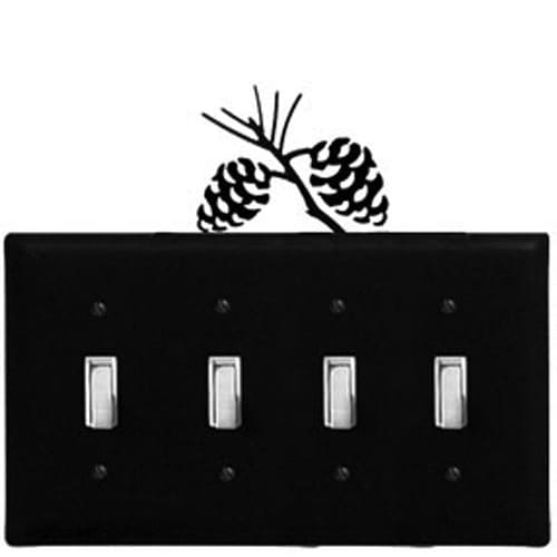 Wrought Iron Pinecone Quad Switch Cover light switch covers lightswitch covers outlet cover switch