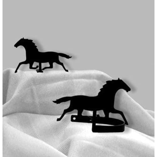 Wrought Iron Racing Horse Curtain Tie Back Set curtain accessories curtain holdbacks curtain tie