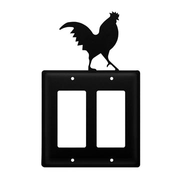 Wrought Iron Rooster Double GFCI Cover light switch covers lightswitch covers outlet cover switch