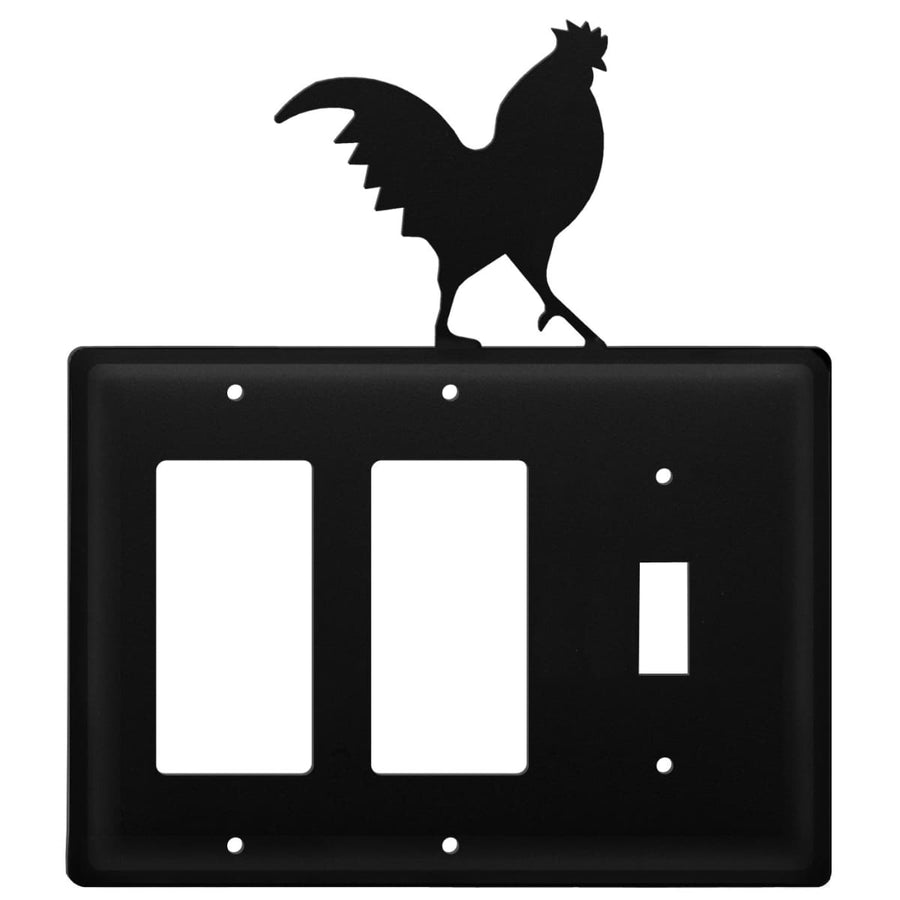 Wrought Iron Rooster Double GFCI Switch Cover light switch covers lightswitch covers outlet cover