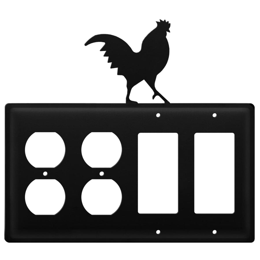 Wrought Iron Rooster Double Outlet Double GFCI Cover light switch covers lightswitch covers outlet