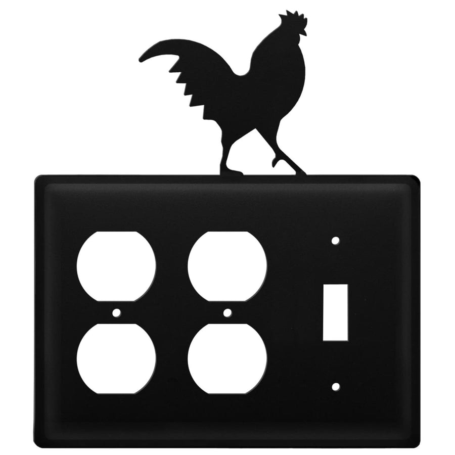 Wrought Iron Rooster Double Outlet Switch Cover light switch covers lightswitch covers outlet cover